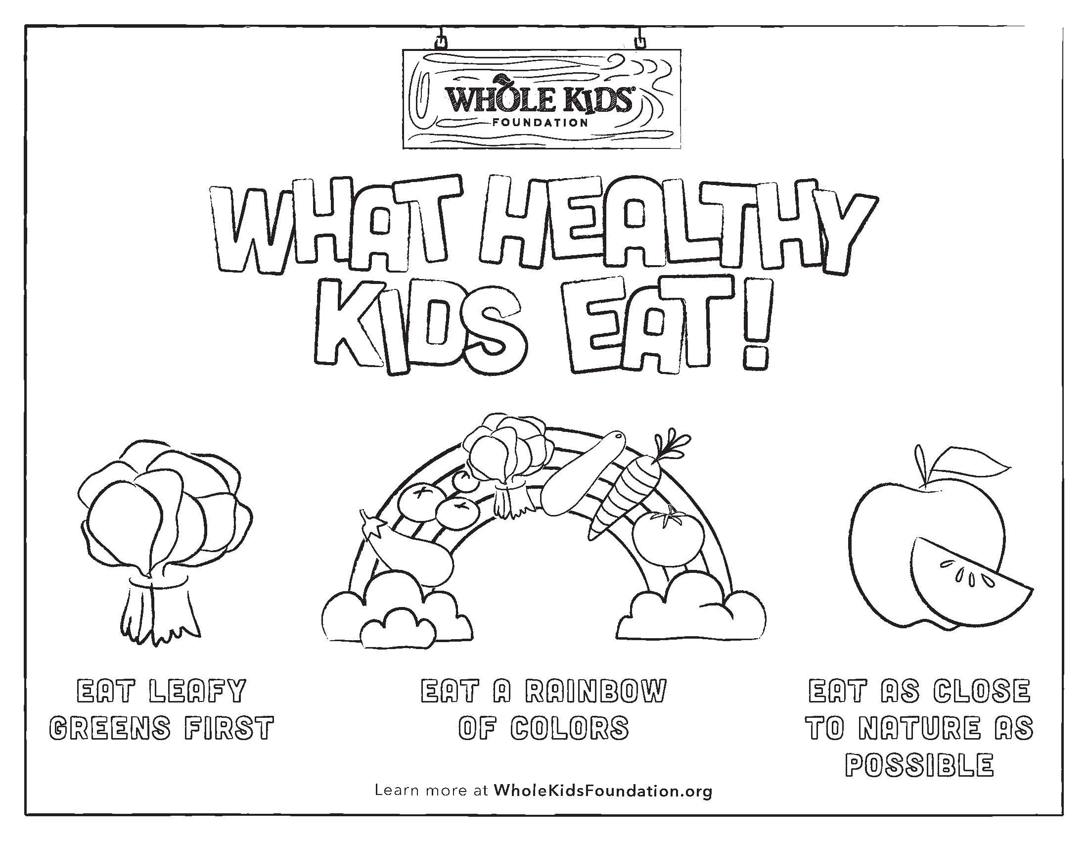 Whole Kids Foundation Coloring Sheet Healthy Eating Princples